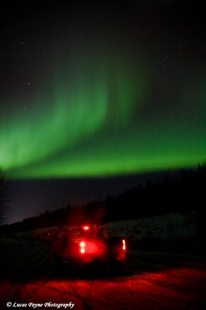 The aurora dancing over my truck along the Parks Highway in Alaska. <br /> October 28, 2008