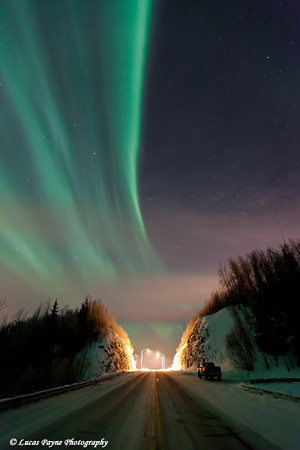 Aurora Borealis (Northern Lights) over the Old Glenn Highway in the Matanuska-Susitna Valley<br /> Alaska<br /> January 24, 2012