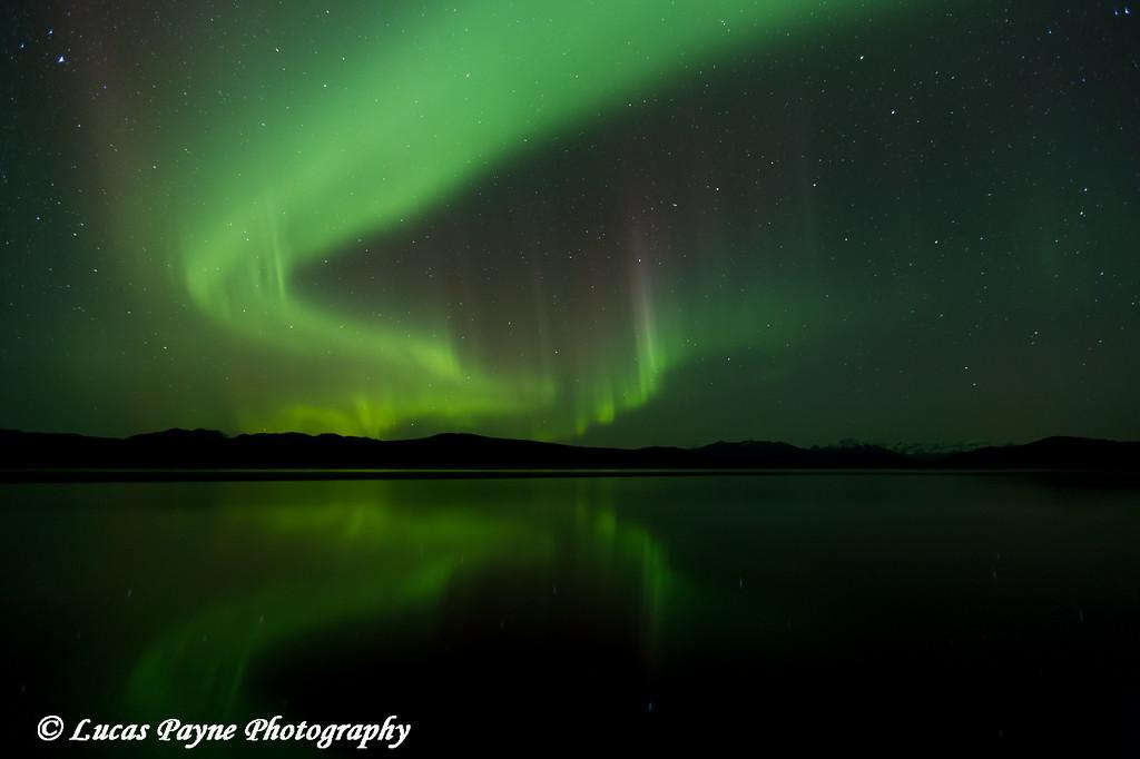 Aurora Borealis (Northern Lights) reflected in 50 Mile Lake along the Denali Highway.<br /> <br /> September 26, 2014