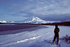 An early January ski trip along the south shore of Painter Creek. Keith is looking toward the Mt. Chiginigak volcano.