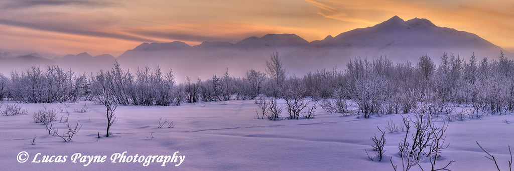 Panoramic view of the Chugach Mountains at sunrise along the Seward Highway<br /> HDR<br /> March 16, 2012