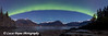 Panoramic View of Northern Lights dancing above the Chugach Mountains and mudflats of Turnagain Arm from the Hope Highway<br /> <br /> October 01, 2012
