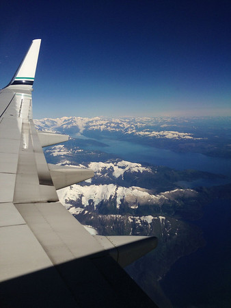 Prince William Sound from the plane flying into Anchorage