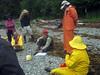 Forest Service's Barbara Lydon explains our tasks at camp 1, Ingot Island
