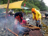 Much time was spent burning wood debris from old camp clean up