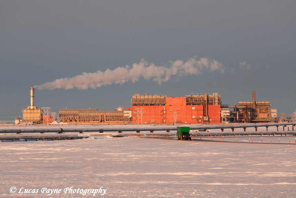 Central Gas Facility (CGF) and Box Van on Road Prudhoe Bay<br /> February 2011