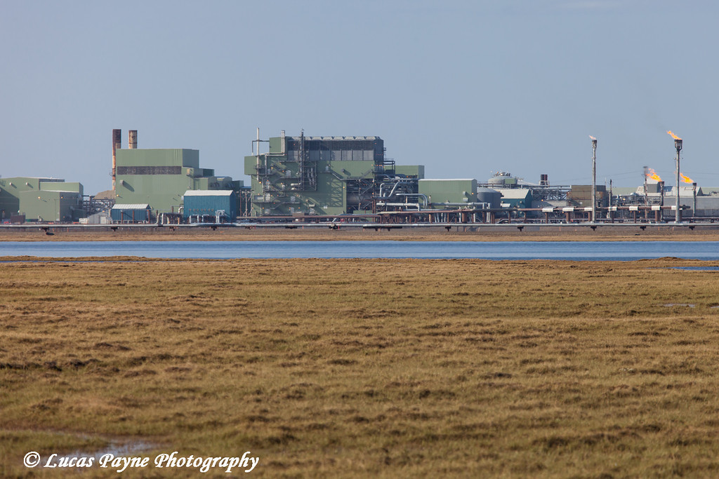 View of Gathering Center 1 (GC1) and flare towers in the Prudhoe Bay Oil Field, North Slope,  Arctic Alaska<br /> <br /> June 23, 2012