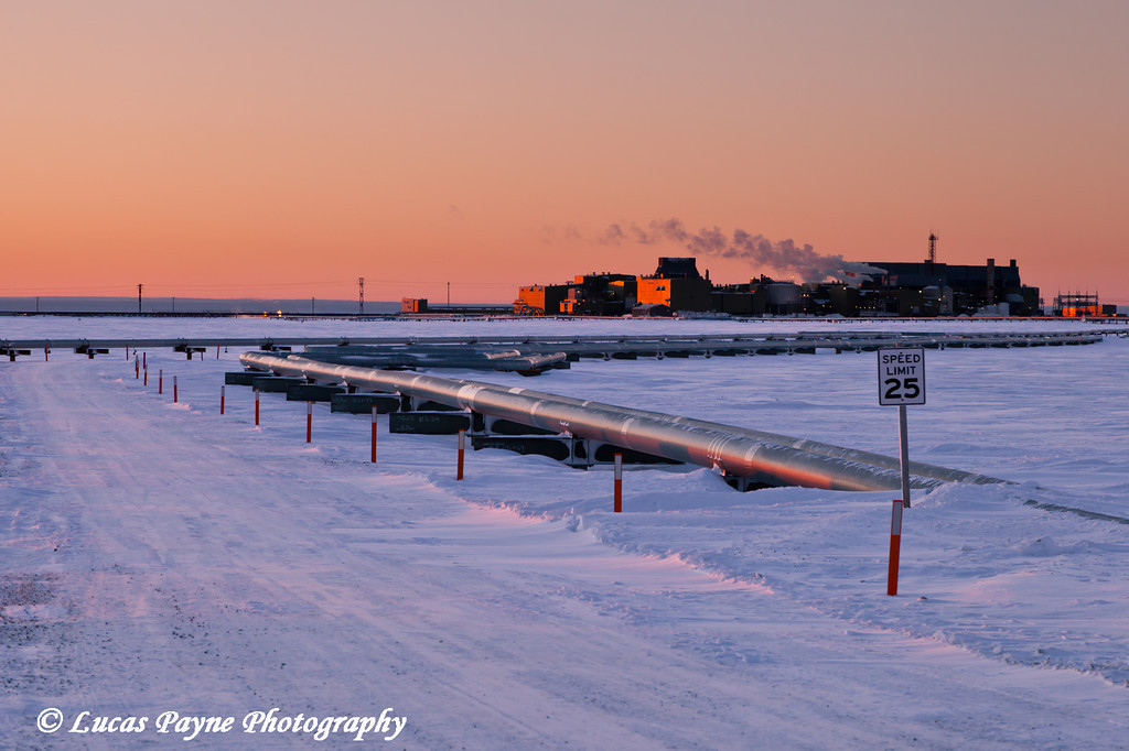 Pipelines and Flow Station 3 (FS3) in the Prudhoe Bay Oil field, Arctic Alaska<br /> February 08, 2012