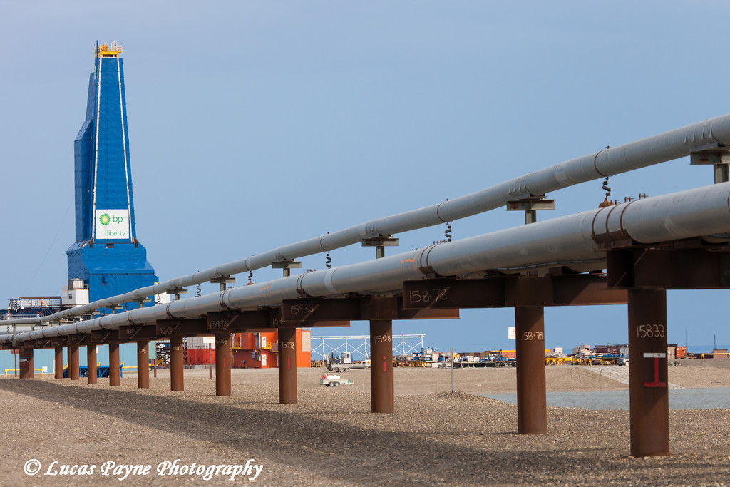 Liberty Oil Rig and oil pipeline in the Prudhoe Bay Oil field, North Slope, Arctic Alaska,<br /> <br /> July 28, 2012