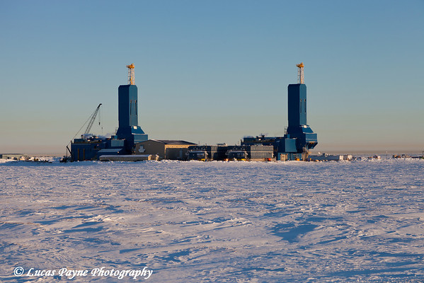 Two new Parker Drilling rigs in Deadhorse, Prudhoe Bay Oil Field, Arctic Alaska<br /> February 08, 2012