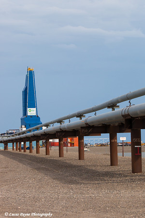 Liberty Oil Rig and oil pipeline in the Prudhoe Bay Oil field, North Slope, Arctic Alaska<br /> <br /> July 28, 2012