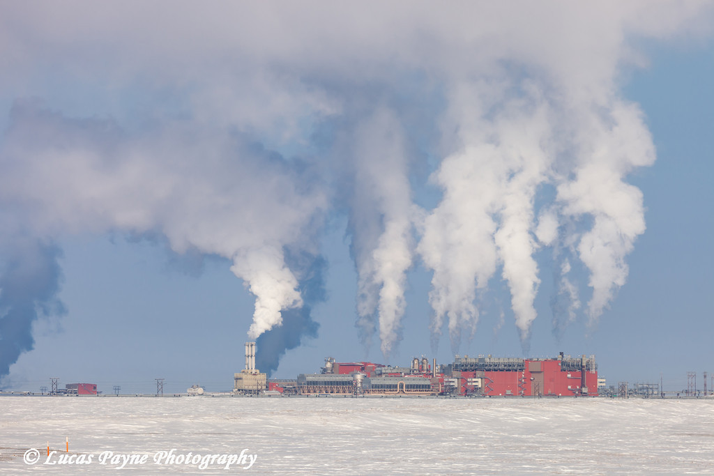 Central Gas Facility (CGF) on a cold winter day in the Prudhoe Bay Oilfield, North Slope, Arctic Alaska<br /> March 09, 2012