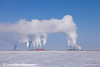 Central Gas Facility (CGF) and Central Compression Plant (CCP) on a cold winter day in the Prudhoe Bay Oilfield, North Slope, Arctic Alaska<br /> March 09, 2012