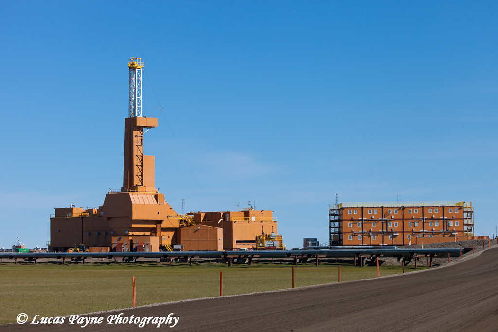 Doyon Oil Rig 25 and a rig camp in the Prudhoe Bay Oil Field, North Slope,  Arctic Alaska<br /> <br /> July 19, 2012