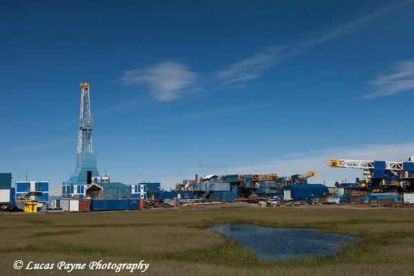 Old Nabors drilling rigs in Deadhorse, Prudhoe Bay Oil Field, Arctic Alaska.<br /> <br /> July 17, 2013