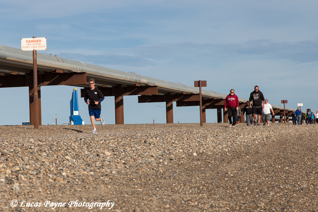 Slope workers participating in the Endicott Fun Run with oil pipelines and the Liberty Oil Rig in the background, Prudhoe Bay Oil field, North Slope, Arctic Alaska<br /> <br /> July 28, 2012