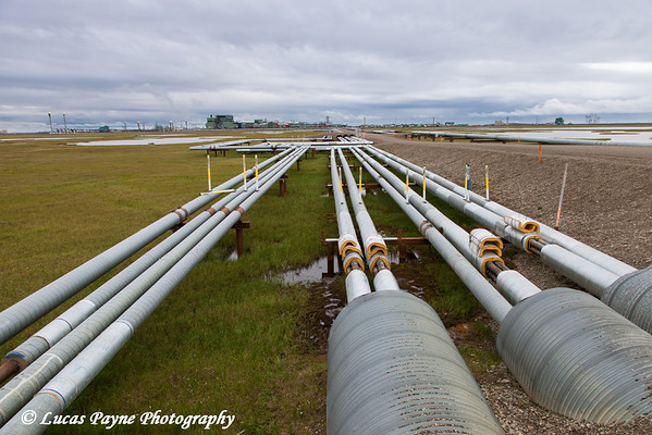 Oil pipelines with Gathering Center 1 (GC1) in the Prudhoe Bay Oil Field, North Slope,  Arctic Alaska<br /> <br /> July 18, 2012