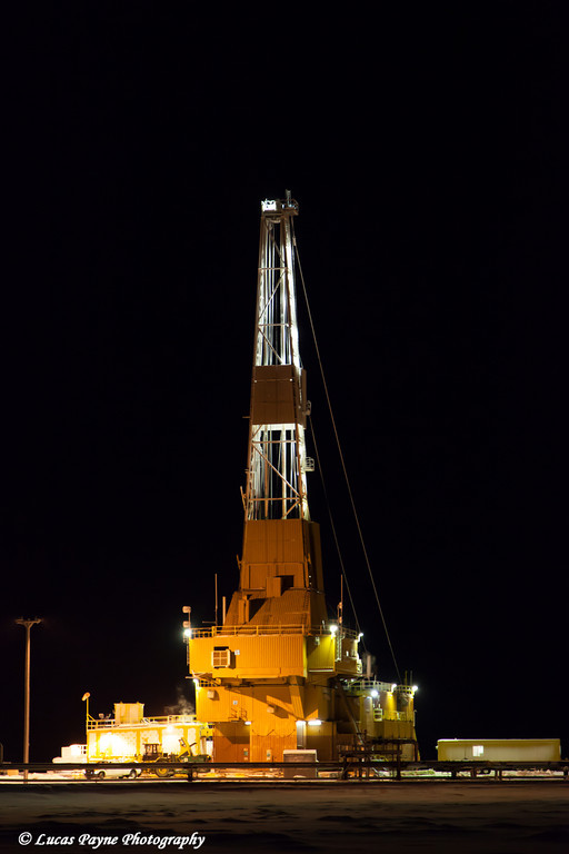 Doyon Drilling Rig on a drill site in the Prudhoe Bay Oil Field, North Slope, Arctic Alaska<br /> <br /> December 03, 2012