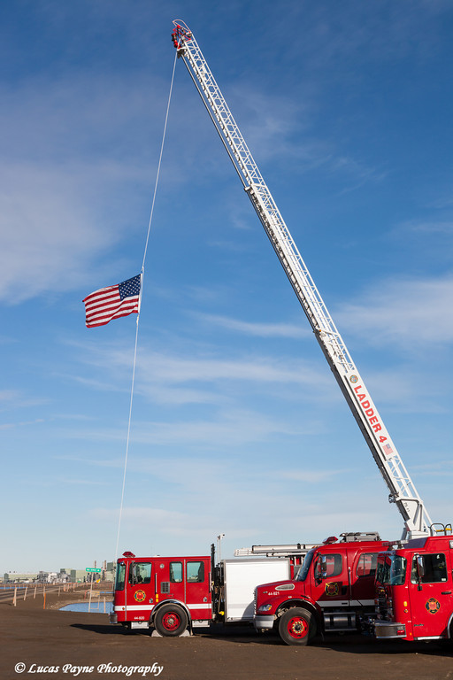 Prudhoe Bay Fire Department flying the American Flag in honor of the victims of 9/11, North Slope, Arctic Alaska.<br /> <br /> September 11, 2013