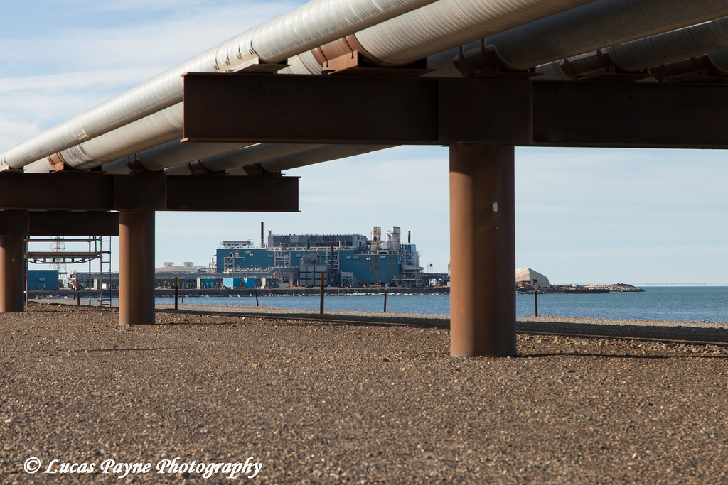 Endicott oil facility with pipelines in the Prudhoe Bay Oil field, North Slope, Arctic Alaska<br /> <br /> July 28, 2012