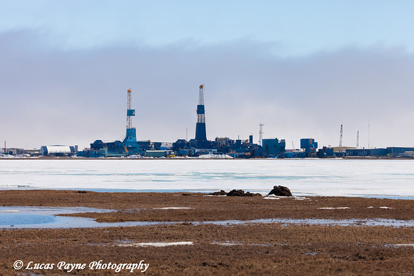 Two Nabors Drilling rigs and frozen Lake Colleen in Deadhorse, Prudhoe Bay Oil Field, Arctic Alaska<br /> June 01, 2012