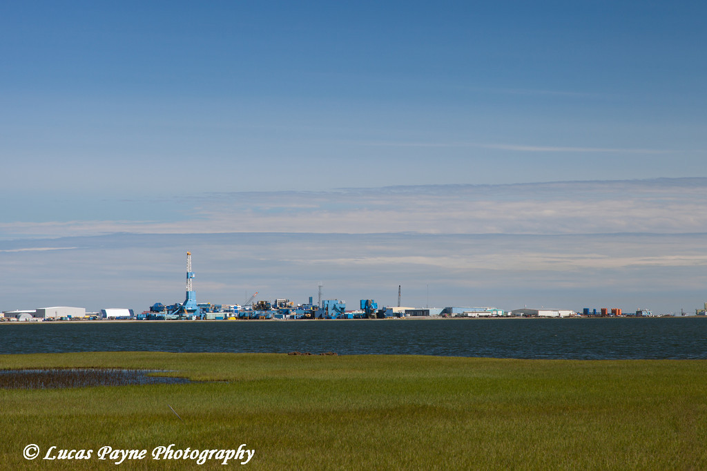 Nabors Drill rigs and Lake Colleen in Deadhorse, Prudhoe Bay Oil Field, Arctic Alaska.<br /> <br /> July 16, 2013