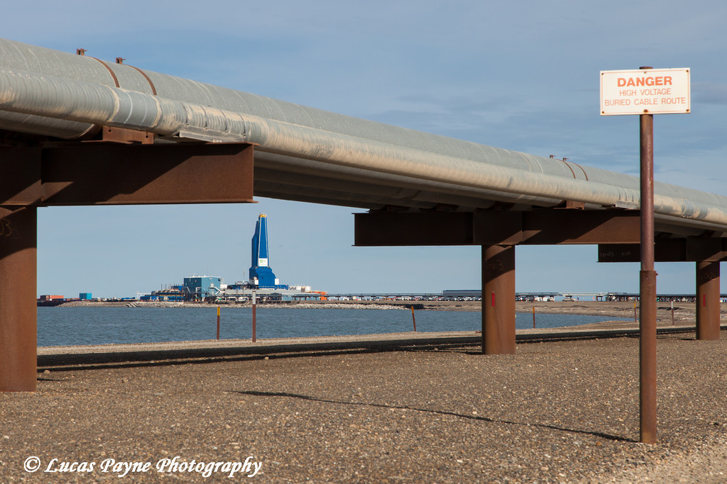Liberty Oil Rig and Pipelines viewed from the Endicott Island causeway, Prudhoe Bay Oil field, North Slope, Arctic Alaska<br /> <br /> July 28, 2012
