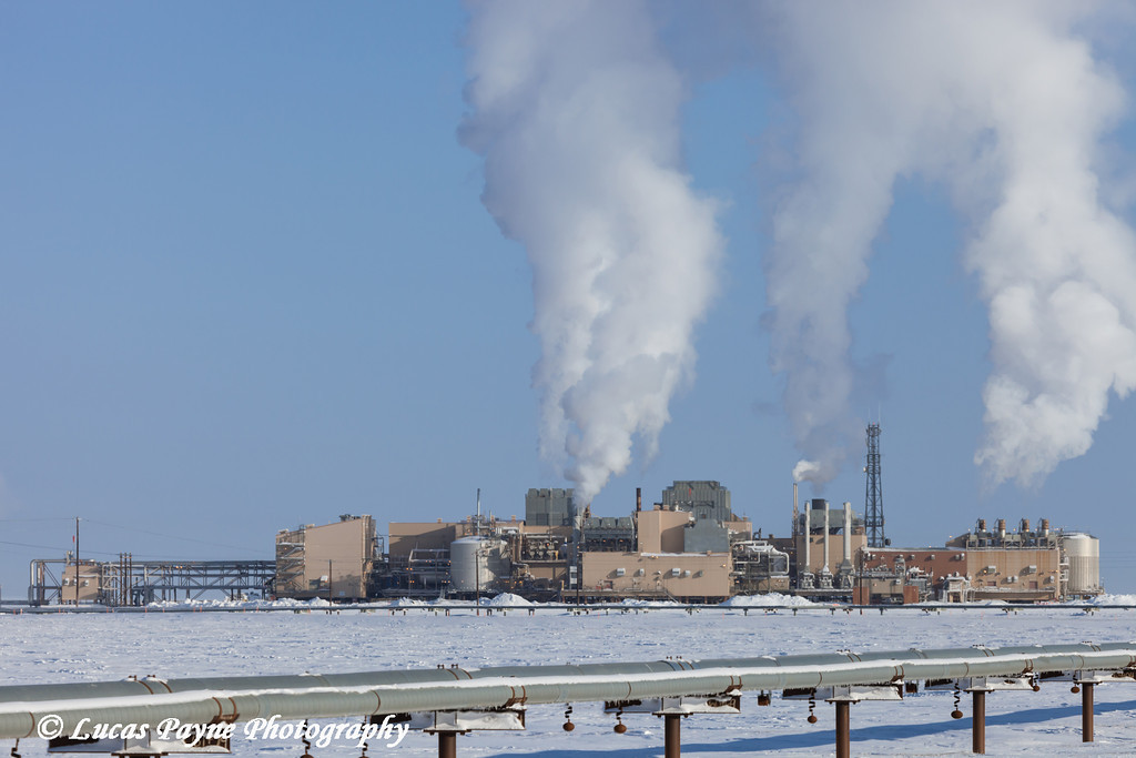 View of the Lisburne Production Facility and a oil pipeline in the Prudhoe Bay Oilfield, North Slope, Arctic Alaska<br /> March 09, 2012