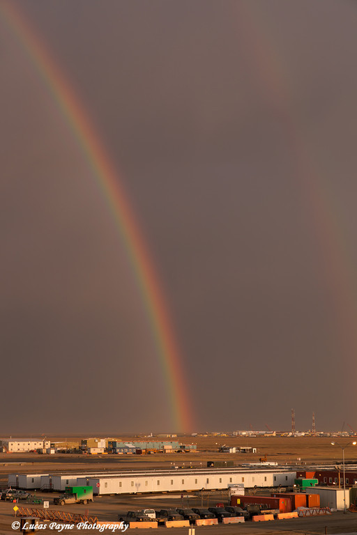 Double rainbow at midnight over Deadhorse and the Prudhoe Bay oilfield, North Slope, Arctic Alaska<br /> <br /> June 21, 2013