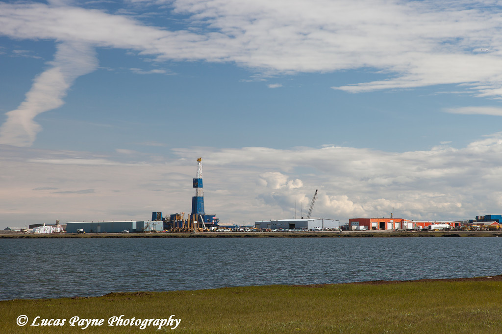 Nabors Oil Rig Z7E along Lake Colleen in Deadhorse, Prudhoe Bay Oil Field, Arctic Alaska.<br /> <br /> July 16, 2013