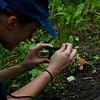 Ever the photographer Katie investigates the mushroom.