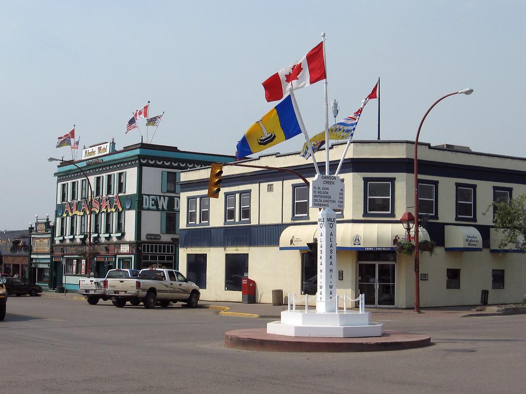 Main Street in Dawson Creek. Mile 0 of the Alaska Highway.