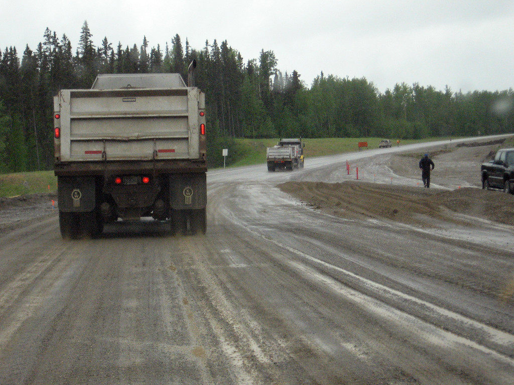 Construction on the Alaska Highway north of Fort Nelson, B.C.