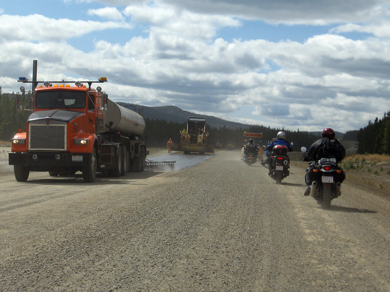 Chip-sealing on the Alaska Highway. Motorcyclists and bicyclists love this stuff - NOT!
