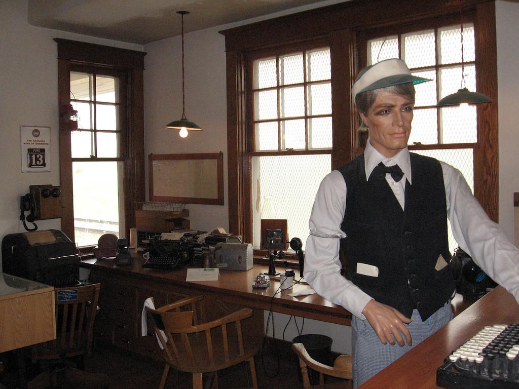 Inside the train historic depot at Dawson Creek.