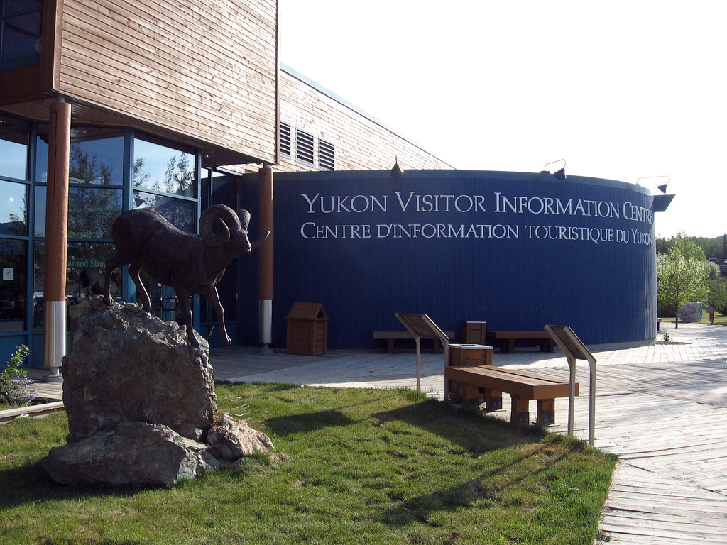 Outside the Yukon Visitor Information Center in Whitehorse.