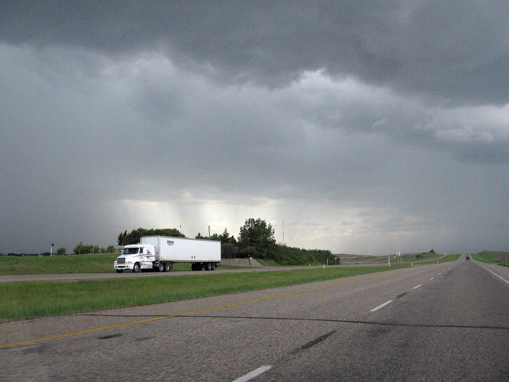 Storm clouds moving in on the Yellowhead Highway in Alberta.
