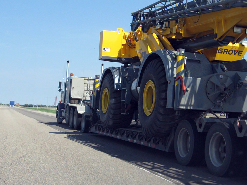 Passing a very big rig on the Yellowhead Highway in Canada.