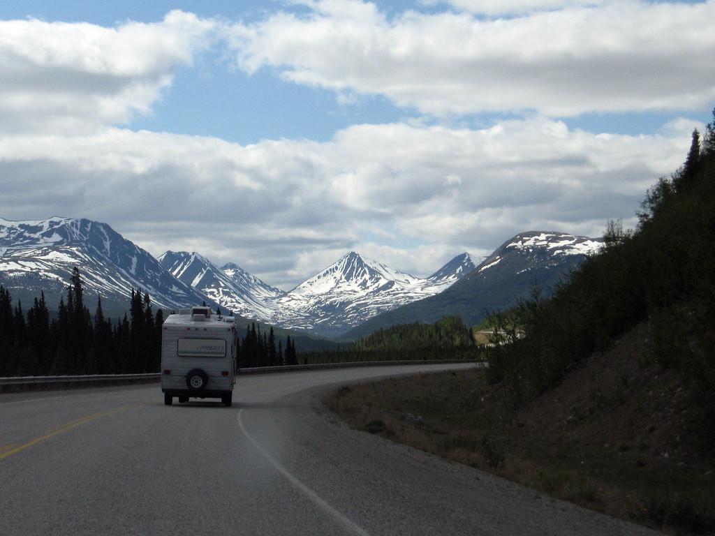 RV on the Alaska Highway in the Yukon.