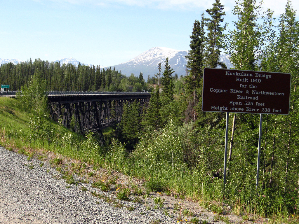 The historic Kuskulana River railroad bridge now modified for car and truck traffic.