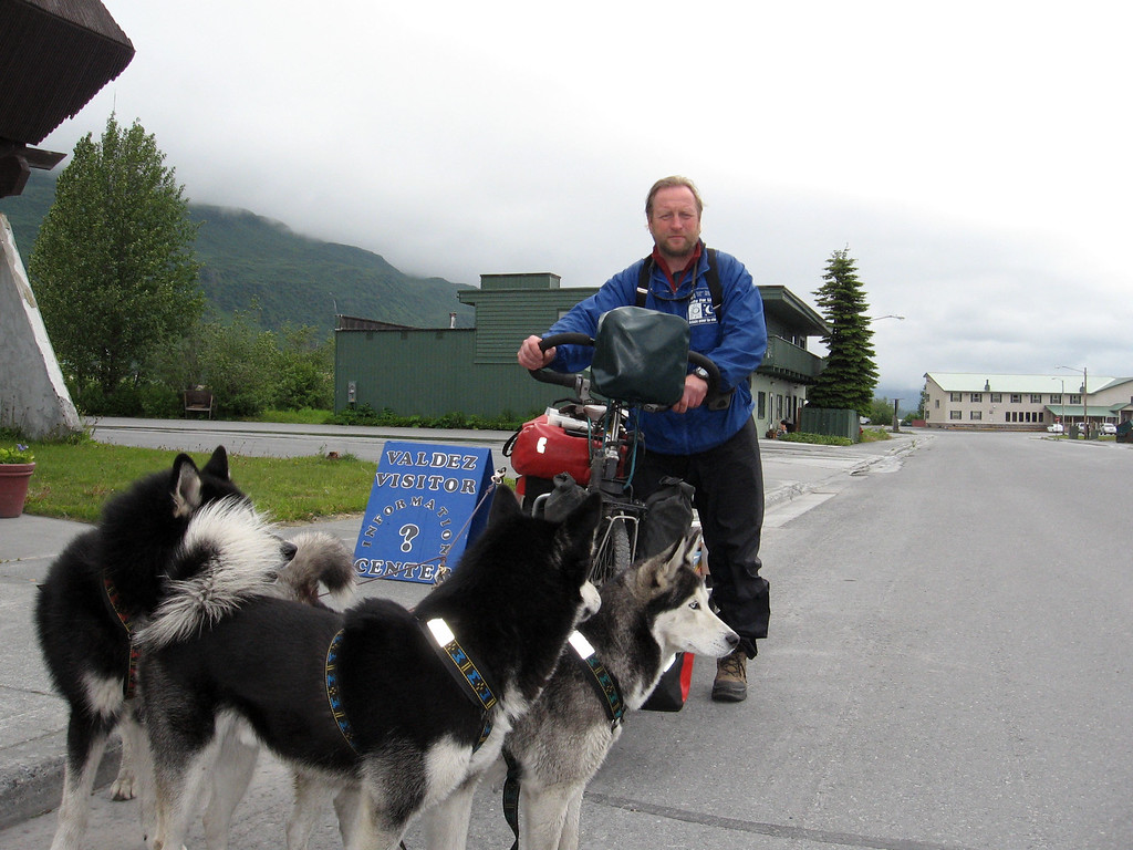 "Trans-global adventurer and cancer awareness advocate, Randolph Westphal, and his three husky companions at the completion of his 4th around-the-world bicycling trek. Read about his remarkable story and personal battle with cancer at:  <a href=""http://www.randolph-westphal.de/"">http://www.randolph-westphal.de/</a>"