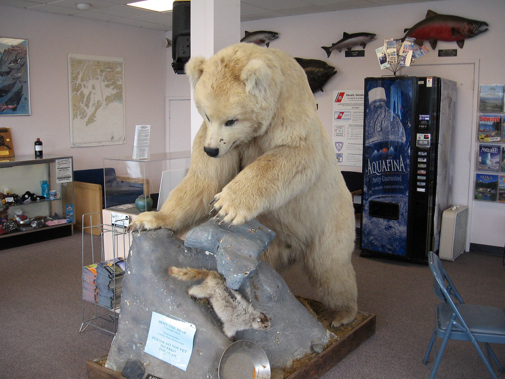 Exhibits inside the Valdez Information Center on Fairbanks Street.