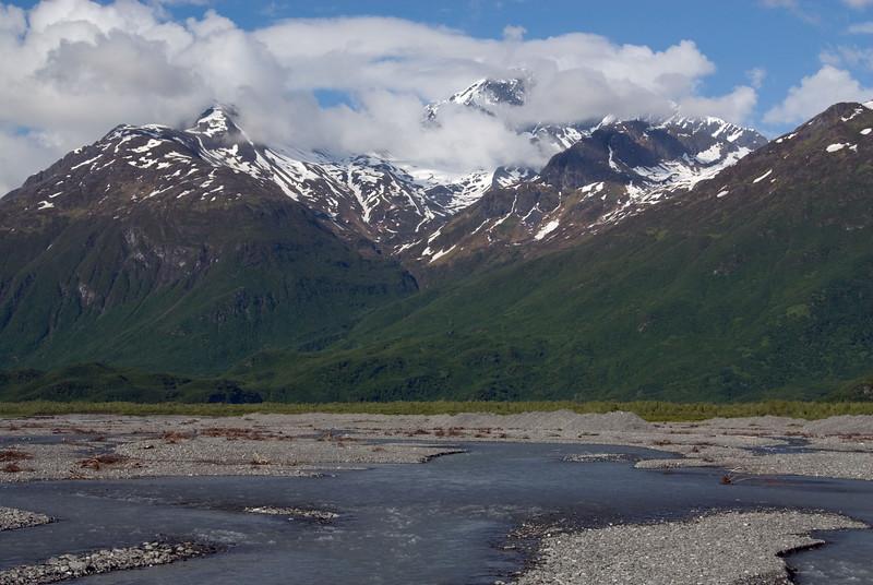 View along the Valdez Glacier Stream from the Richardson Highway entering Valdez.