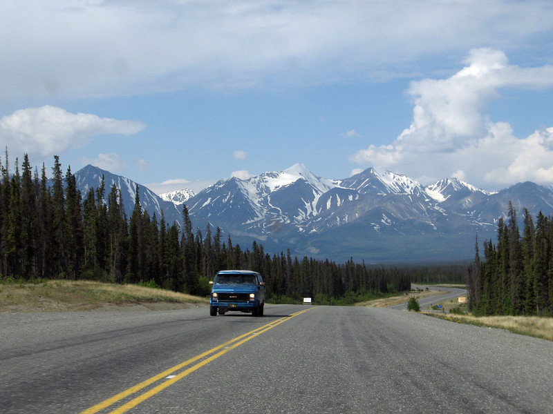 Driving towards Kluane (pronounced Clue-ah'-ne) National Park, in the Yukon.