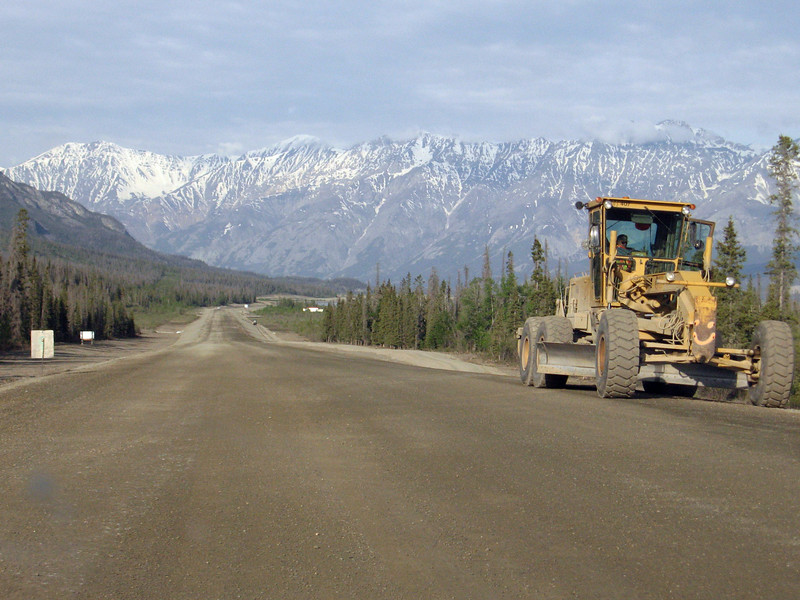 Road construction on the Alaska Highway near Klunae Lake, YT.