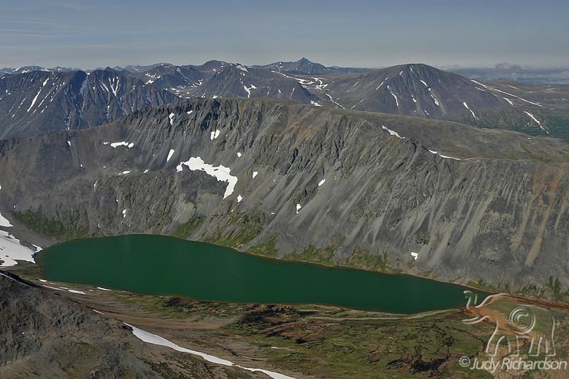 Glacial lake in Alaska mountains