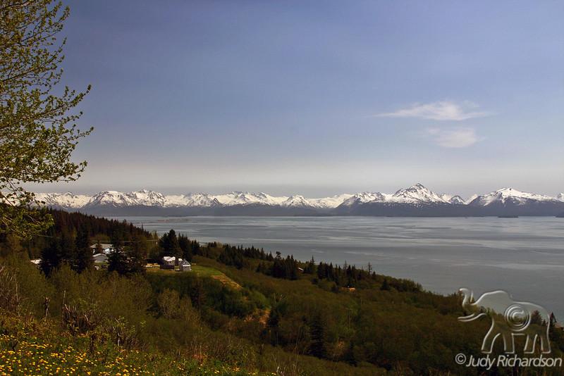 View of mountains surrounding Homer, Alaska from overlook hill
