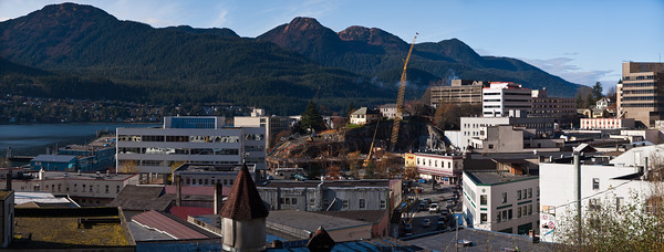 A 16 shot Panorama, two layers of vertical photographs stitched together in Photoshop. This could probably be printed about ten feet across and look fine. Downtown Juneau as seen from Gold Street. October 20th, 2009.