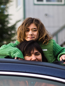 Elia and Mary trying out the sunroof. November 15th, 2008.