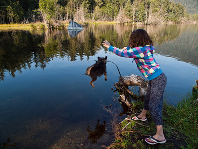 My daughter Elia gives our water-averse little dog Pico a bath in Dredge Lake. August 16th, 2010.